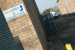 Warehouse Deliveries Sign